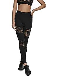 Urban Classics Damen Leggings Ladies Laces Inset Pants - Yoga-Hose mit floralen Spitzen-Einsätzen