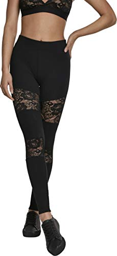 Urban Classics Damen Ladies Laces Inset Leggings Schwarz (Black 00007) XXL