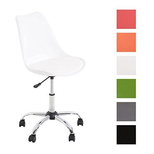 CLP Retro Bürostuhl / Schreibtischstuhl PEGLEG, Materialmix Kunststoff, Kunst-Leder, höhenverstellbar 45 – 57 cm Weiß