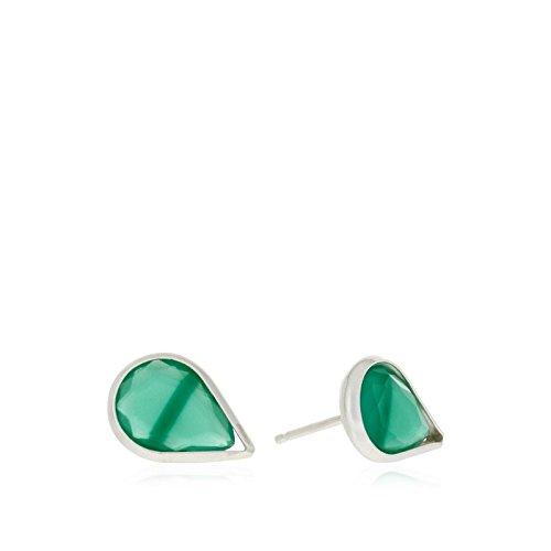 Córdoba Jewels |Pendiente en plata de Ley 925. Medida: 11 x 7 mm.Semipreciosa de 11 x 7 mm. Tipo de cierre: Presión. Diseño Lágrima Esmeralda