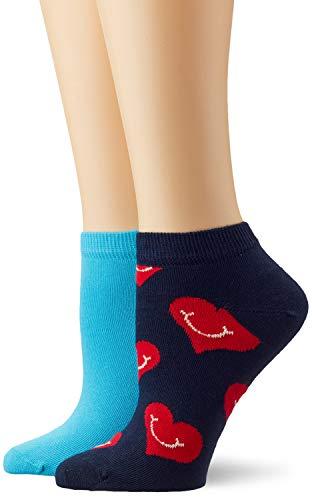 Happy Socks Damen 2-Pack Smiley Heart Low Socken, Mehrfarbig (Multicolour), 4/7/2018 (Herstellergröße: 36-40) - Low Cut-2 Pack-socken