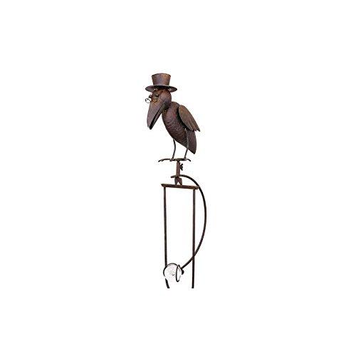 L'Héritier Du Temps Mobile de Jardin à Balancier à Planter ou Tuteur pour Plantes Motifs Corbeau en Fer et Verre Patiné Marron 10x25x153cm