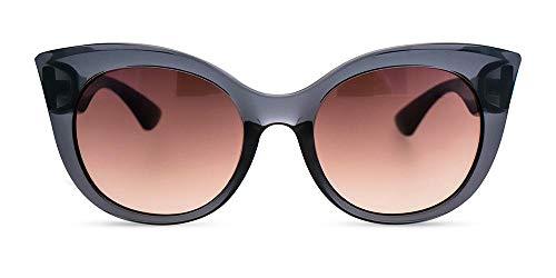 MessyWeekend Thelma - Oversized Cateye Sonnenbrille für Frauen - Transparent Grau Designer Sonnenbrille mit UV400 Schutz