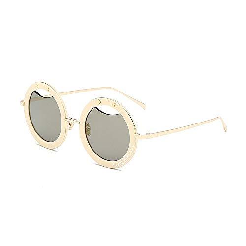 SCJ Herren Outdoor Freizeit Retro Wilde Runde Sonnenbrille Für Damen Herren Damensonnenbrille Persönlichkeit Rahmen Sonnenbrille PC Objektiv Klassischer Briefdruck Fahren Sonnenbrille Liebe \u00