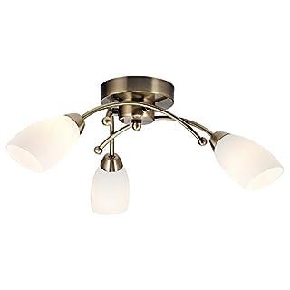 Haysom Interiors Contemporary 3 Arm Ceiling Light Fitting, Metal, Antique Brass