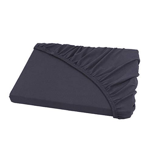 Jersey Spannbettlaken Leintuch Spannbetttuch - in allen Farben und Größen - 100% Baumwolle anthrazit / dunkelgrau 200 x 220 cm Wasserbetten & Boxspringbetten