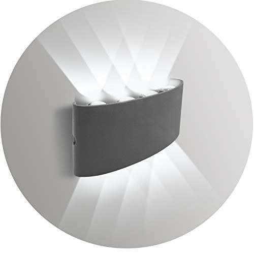 Topmo-plus LED Applique intérieurs extérieurs Lampes modernes Aluminium Up Downlight Convient pour la cage d'escalier d'entrée IP65 Imperméable 22CM (8W Gris / blanc froid)
