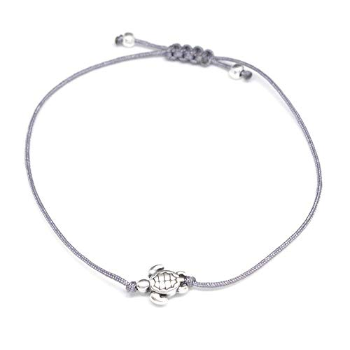 Armband Schildkröte Silber Grau - Größenverstellbar, Makramee Armbändchen