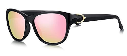 WHCREAT Damen Stilvoll Polarisierte Sonnenbrille UV400 Schutz Mode Brillen (Schwarzer Rahmen - Verspiegelt Rosa Linse)