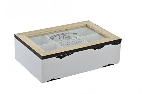Teebox Teekiste weiß antik gewischt Glas Holz Vintage mit Sichtfenster IT HAPPY TEA (Shabby Chic)