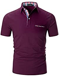 afebb96ec88 YCUEUST Mens Polo Shirts Short Sleeve Contrasting Colors T-Shirt Tops