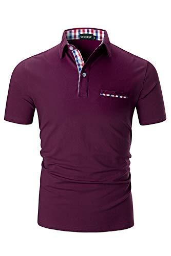 YCUEUST Herren Poloshirts Kurzarm Basic Polohemd Sommer Polo Shirt Rot Medium