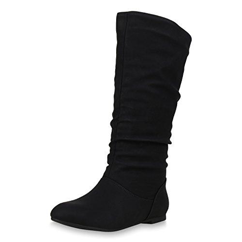 SCARPE VITA Damen Schlupfstiefel Warm Gefütterte Stiefel Leder-Optik Schuhe 152413 Schwarz 38