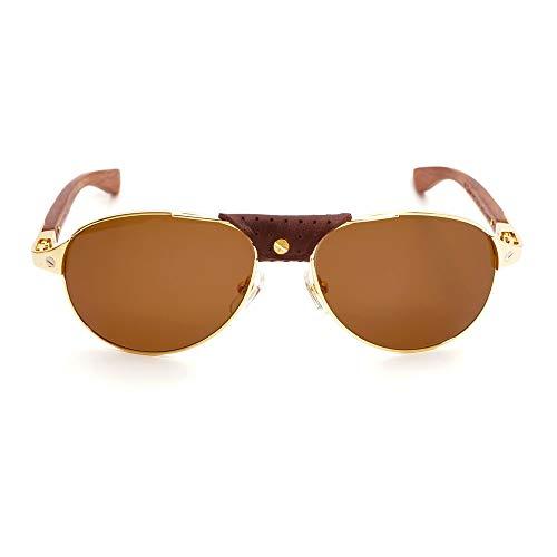 LKVNHP Neue Hohe Qualität Pilot Holz Sonnenbrille Männer Vintage Sonnenbrille Für Fahren Trend Dekoration Brillen Santos Brillengestell Für Outdoor Strand317 Braun