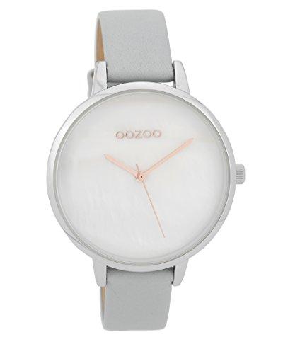 Oozoo Damenuhr mit Lederband 40 MM Weiss Perlmutt/Grau C9585