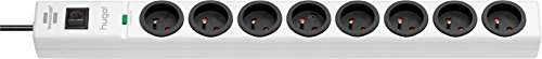 Brennenstuhl hugo! Bloc multiprise 8 prises avec parasurtenseur/parafoudre cordon 2 m - Blanc
