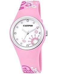 Calypso–Reloj de cuarzo para mujer con correa de plástico en color blanco esfera analógica pantalla y Rosa k5631/5