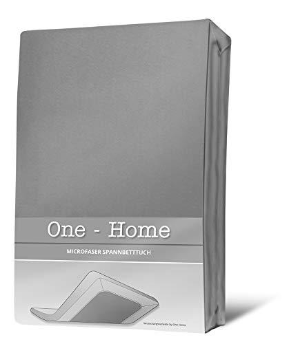 one-home Spannbettlaken grau 140×200 cm – 160×200 cm Microfaser Spannbetttuch