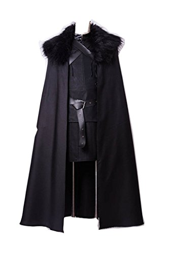 Jon Kostüm Snow - FUMAN Game of Thrones Jon Snow Cosplay Kostüm Schwarz Umhang Full Set XL