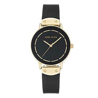 Anne Klein – Reloj de Pulsera para Mujer (Mecanismo de Cuarzo y Correa de Piel), Color Negro y Dorado