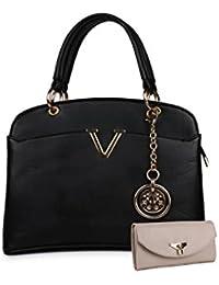 Women Marks Women's Handbag and Wallet (Black, Combo of 2)