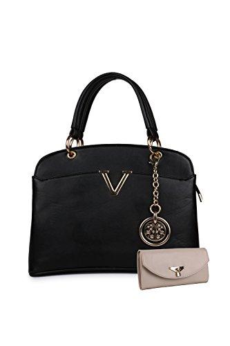 Women Marks Women\'s Handbag and Wallet (Black, Combo of 2)