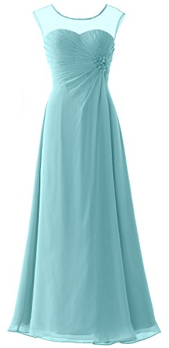 MACloth Women Cap Sleeves Chiffon Long Prom Dress Wedding Party Formal Gown Turquoise