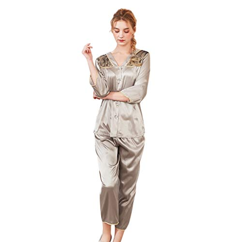 Classic Satin Pyjama Set (BEITAI Damen Classic Satin Pyjama Set Nachtwäsche Loungewear (Color : Khaki, Size : M))