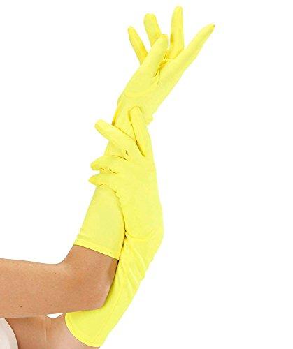 Widmann 9503Y - Lange Handschuhe, One - Gelbe Kostüm Handschuhe