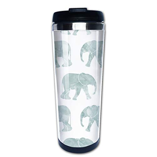 Baby Elephants Dusty Blue Multi Insulated Stainless Steel Travel Mug 14 oz Classic Lowball Tumbler with Flip Lid Blue Barrel Mug