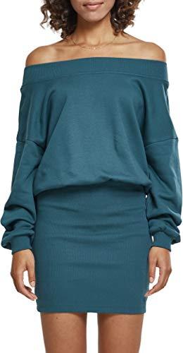 Urban Classics Damen Kleid Ladies Sweat Off Shoulder Dress, Grün (Jasper 01149), Medium