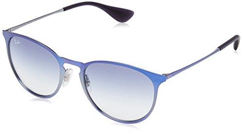 Ray-Ban Unisex Sonnenbrille Erika Metal, Mehrfarbig (Gestell: Metalic-blau, Gläser: lichtblauverlauf 194/19), Large (Herstellergröße: 54) - In Italy Ray-ban-brillen-made