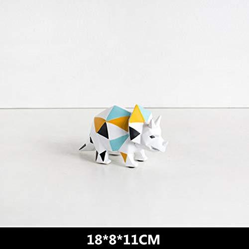 yueyue947 Moderne Geometrie Dinosaurier Harz Statue Simulation Tierfiguren Kinder Schlafzimmer Ornamente/Hellgelb