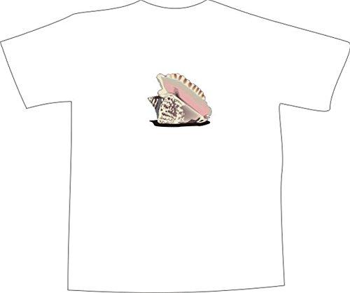 T-Shirt E556 Schönes T-Shirt mit farbigem Brustaufdruck - Logo / Grafik - minimalistisches Design - schöne große Südsee Muschel Weiß