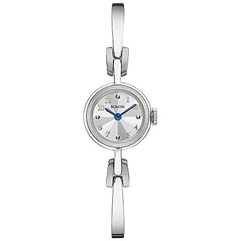Bulova Classic Heritage Kleid Quarz Damen Armbanduhr mit Silber Zifferblatt Analog-Anzeige und Silber Edelstahl Armreif 96l122