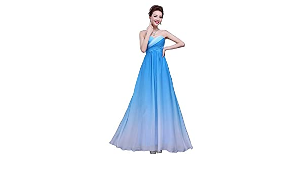 Drasawee Womens Gradient Strapless Chiffon Formal Evening Dresses Prom Gown Blue UK18: Amazon.co.uk: Clothing