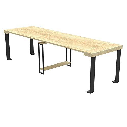 Tavolo per esterno consolle allungabile urano con porta prolunghe - da 40 cm a 200 / 250 / 300 cm, in abete lamellare idrorepellente - arredo giardino (abete naturale, allungabile da 40 a 250 cm)
