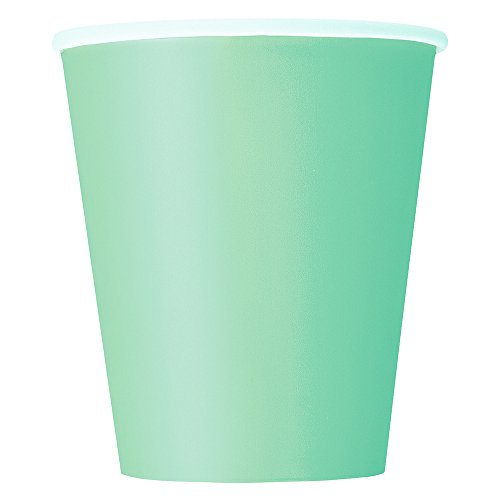 Unique Party - Vasos de Papel - 266 ml - Verde Menta - Paquete de 14 (99226)