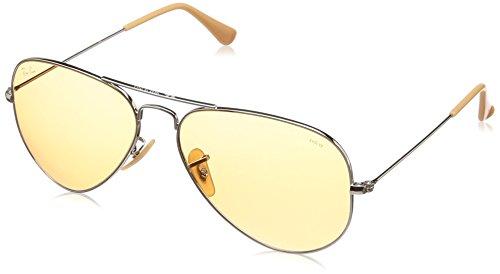 Ray-Ban Unisex-Erwachsene 0RB3025 9065V9 58 Sonnenbrille, Silver/Orange