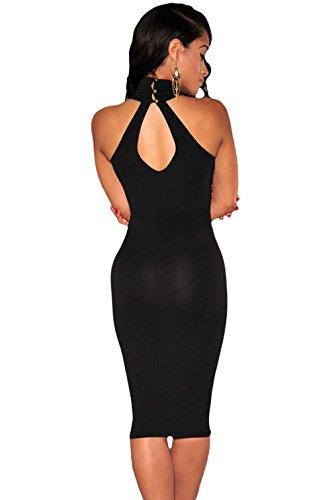 La Vogue Femme Robe Midi Sans Manche Col Montant Moulante Mariage Soirée Noir