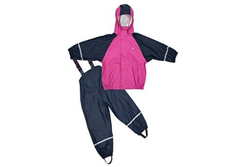 Elka Regenanzug Regenhose + Regenjacke für Kinder, gestreift und einfärbig Farben viele Größen 220g/Polyester (86/92, Marine Pink mit Flecee...
