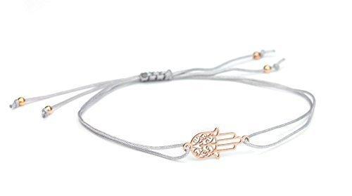 SCHOSCHON Damen Symbol Armband Fatimas Hand - Hamsa, Grau-Rosegold, 925 Silber rosevergoldet   Schmuck Textilarmband