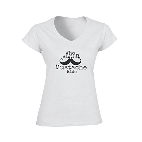 Moustache Ride Who Wants Logo Damen V-Neck T-Shirt Weiß