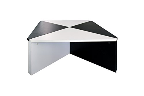 Rebecca SRL Table Basse Carré Composable Bois Blanc Noir Design Urban Sejour Salon (Cod. 0827A)