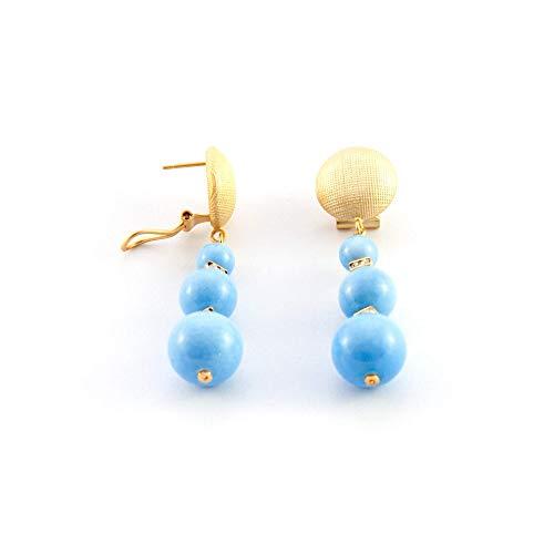 Ohrringe lange triple ball und Strass. Einzigartig, elegant, schick. Kunstharzperlen mit Porzellan-Effekt, strass Juwelen und Omega-Verschluss in mattem Gold-Effekt. Frau, blau