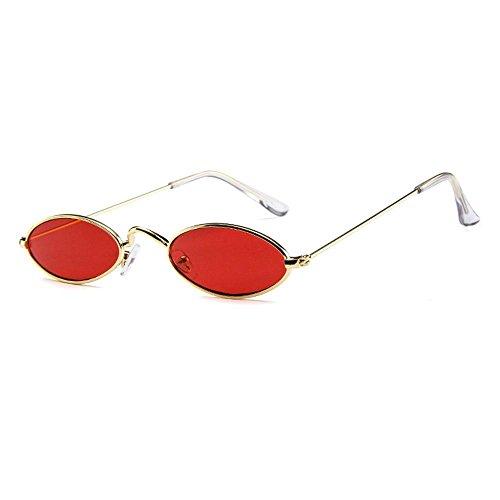 Aolvo - Occhiali da sole piccoli ovali, stile vintage, eleganti, rotondi, HD, per uomini, donne e ragazze Gold Frame Red Lens