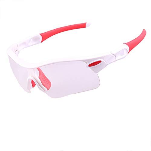 Lafeil Sportsonnenbrille Wechselgläser Herren Sportbrille Damen Herren Radfahren Brille Sonnenbrillen Windschutzscheibe Mountainbike Brille Im Freien Weiß Rot-Clear&Gelb Gläser