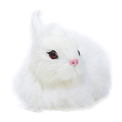TUDUZ Simulation Mini Rabbit Animal Model Figure Hare Figurine Home Decor Miniature Pâques Parti Ornements Cadeau Mignon Mini Réaliste Lapin en(Blanc)