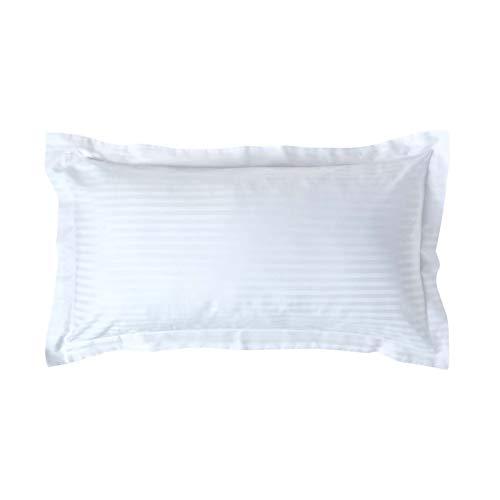 Homescapes Kissenbezug 50 x 90 cm weiß mit Satin-Streifen - 100% Reine ägyptische Baumwolle, Fadendichte 330 - Kissenhülle mit Hotelverschluss, extra groß -