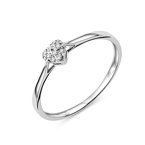 Miore Ring Damen Diamant Verlobungsring Herz Weißgold 9 Karat / 375 Gold Diamanten Brillanten 0.04 Ct, Schmuck (Weißgold Ring Diamant Damen)